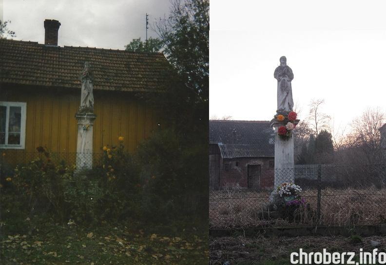 Figurka przydrożna przy (początku) ulicy Ogrodowej na dawnej posesji Dorozów (obecnie plac należy do p. Koziarów). Po prawej widok w1997 roku apo prawej listopad 2015r. (arch. Paweł B.)